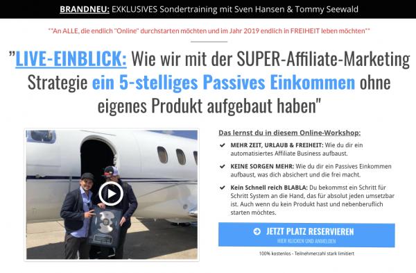 Super Affiliate Marketing Webinar - von Tommy Seewald und Sven Hansen