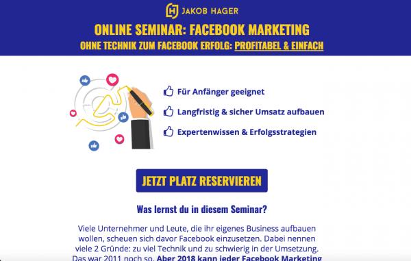 Facebook Marketing - Online Seminar von Jakob Hager