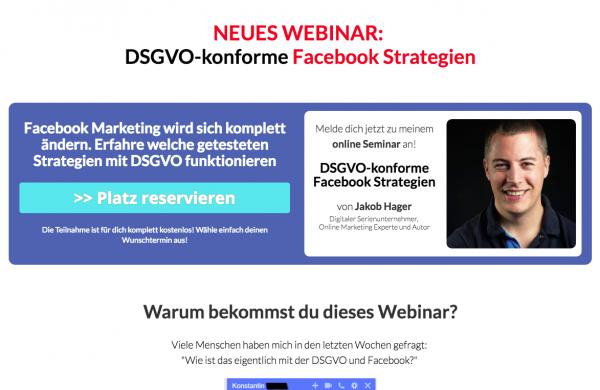 DSGVO Webinar - konforme Facebook Strategien